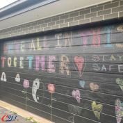 HOW INSPIRING is this beautiful mural by Gregory Hills local Ashleigh. . Ashleigh said 'I'm hoping that those who might be feeling alone and overwhelmed by all that is happening, that they're not alone and it might bring a smile or feeling of joy to them in these uncertain times'. . It's gestures like that this that showcase the true community spirit that Macarthur is built on. Well done, Ashleigh and her little helper! 👏🏽 .  #LocalLegendsC913 #C913 #WereAllInThisTogtherC913 #LocalStory #Community #CommunitySpirit #ThankYou