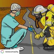 Powerful imagery from Canberra Artist @mick.ashley_lsdartwork . Posted @withregram • @newscomauhq A Canberra artist has created a moving tribute to our tough road ahead. The baton of hope has been passed on from our firefighters to our brave health workers on the frontline of coronavirus.