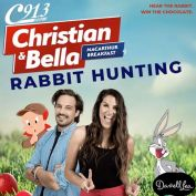 HEAR THE RABBIT. WIN THE CHOCOLATE. . Christian and Bella have a very BUNNY show planned for you tomorrow!  Tune in from 5am and listen out for the Famous Rabbit voices! Get them correct and you'll score a Darrell Lea Easter Hamper! 🤤🤤🤤 . Don't miss a minute of Christian and Bella during Macarthur Breakfast! @darrelllea #ChristianandBellaC913 #C913 #Easter